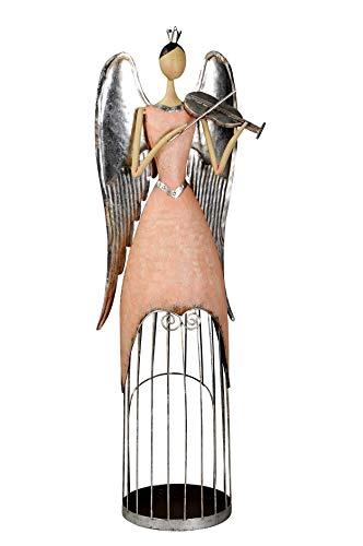 Posiwio großer Deko Engel mit Geige als Windlicht Rose-Silber antike Shabby Optik