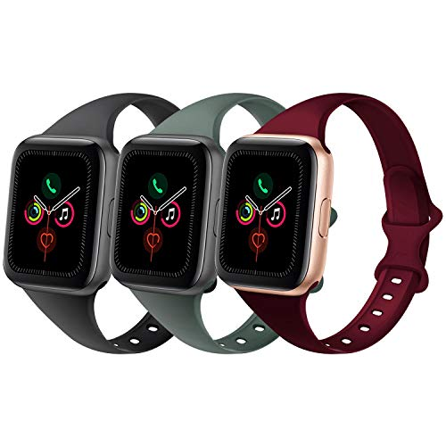 DYKEISS Sport Slim Silicone Band Compatible for Apple Watch Band 38mm 42mm 40mm 44mm, Thin Soft Narrow Replacement Strap Wristband for iWatch Series 5/4/3/2/1 (Black/Pine Green/Wine Red, 38mm/40mm)