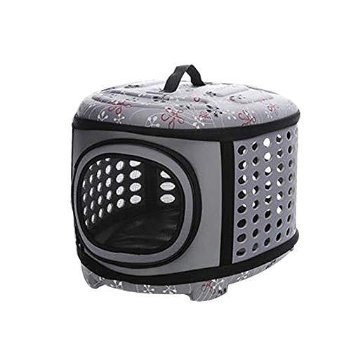 Moares - Portador de gato transpirable para perros pequeños, medianos, viajes, camping, viajes, al aire libre, portátil, plegable, para mascotas, bolsa de hombro transpirable, color gris