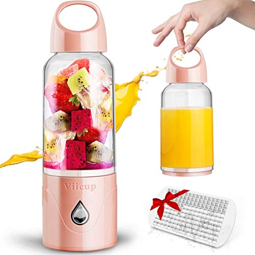 ASKITO Personal Blender Portable Blender for Shakes and Smoothies USB Rechargeable Single Serve Blender Small Juicer Cup Fruit Mixer with Ice Tray - Stronger 6 Blades, BPA Free