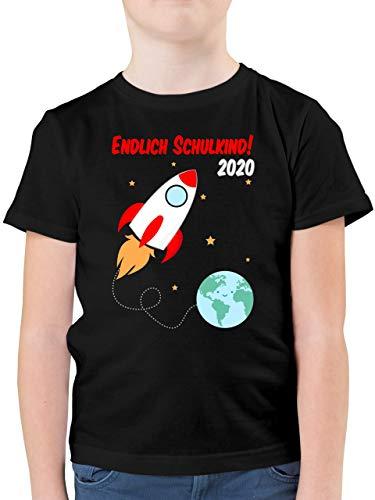 Einschulung und Schulanfang - Endlich Schulkind Rakete 2020-128 (7/8 Jahre) - Schwarz - Geschenk Junge 6 Jahre - F130K - Kinder Tshirts und T-Shirt für Jungen