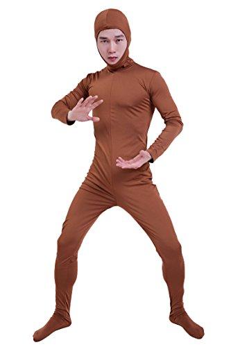 『コスチューム 全身タイツ 茶色 レディース Sサイズ 顔部分があいている 着ぐるみ (SS03-2H)』のトップ画像