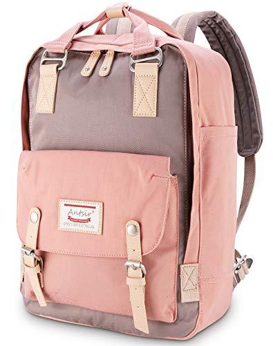 Rucksack für Mädchen Rosa und Grau, ONKING Premium Langlebiger Tagesrucksack mit Anti Diebstahl Tasche Reisen Rucksäck Wasserdicht Schulrucksack für 13''-17'' Laptops