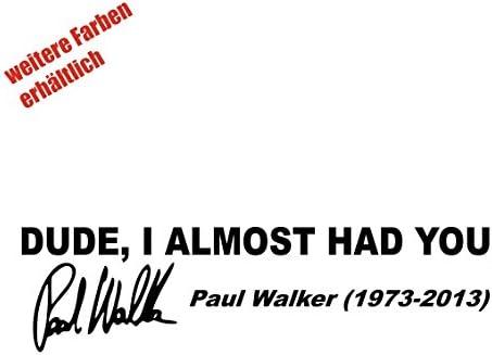 Aufkleber Paul Walker Sticker Decal Folie Tuning Schwarz Auto