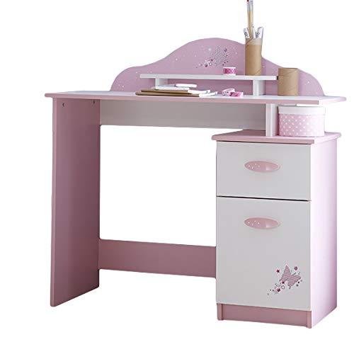 Schreibtisch rosa/weiß Holz Mädchen Computertisch Kinderschreibtisch Jugendschreibtisch Bürotisch Kinderzimmer Jugendzimmer