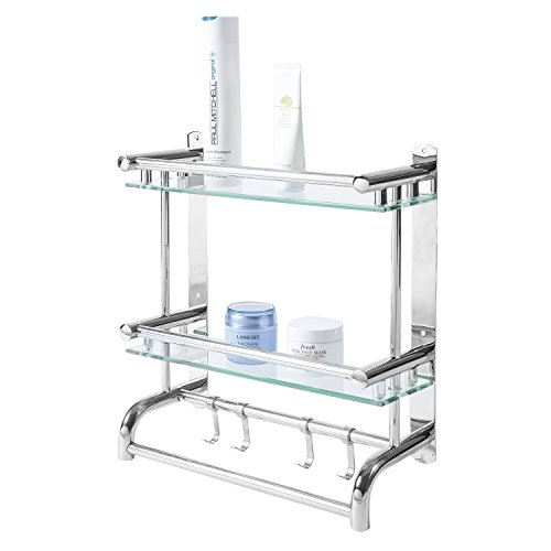 MyGift Wall Mounted Stainless Steel Bathroom Shelf Storage Rack/Organizer, 2 Tier Glass Shelves & 2 Towel Bars with Hooks