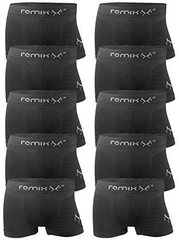 REMIXX Herren Seamless Boxershorts 10er Pack schwarz Größe 6 (L)