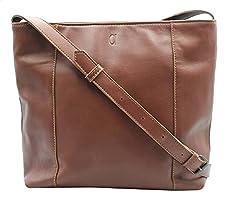 Alfa Leather Co. Back-Pocket Engraved Logo Crossbody Bag for Women - Tan