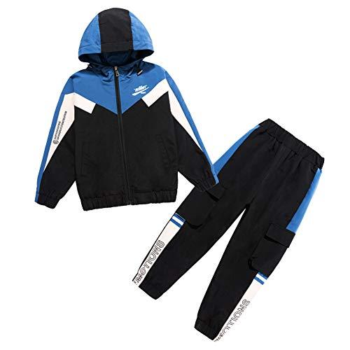 LSHDCER Kinder Jungen Jogginganzug Jogging Hose Jacke Sportanzug Sporthose Fitness Hoodie, Blau, 122/128