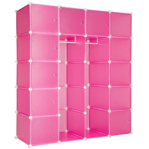 TecTake XXL Steckregal Kleiderschrank Schrank Regal Kunststoff mit Kleiderstange 147x47x183cm - Diverse Farben - (Pink | Nr. 402089)