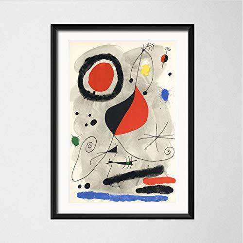yuyu-beautiful Joan Miro Modern Surrealism Art Paintings Cuadro Abstracto Arte Retro Canvaspainting Poster Wall Decoración para El Hogar 50X70Cm Sin Marco