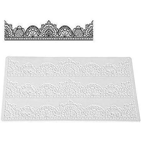 Silikomart Wonder Cakes by 23.088.87.0196 Tapis en Silicone pour Dentelles en Sucre avec Motif Chic, Blanc, 3,5 x 11,5 x 25,5 cm