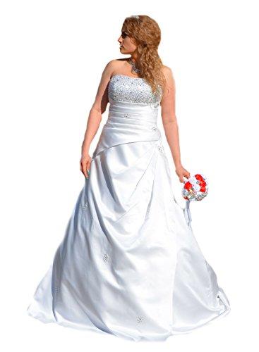 Unbekannt Perlen Satin Schleppe Brautkleid Hochzeitskleid Gr. 34-52 Braut Traumkleid (50, Ivory)