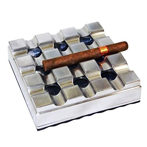 EWT 8' Club Grid Cigar Alloy Metal Cast Polished Ashtray