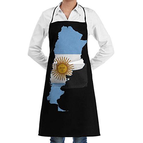 N\A Delantales Ajustables con Bolsillos, Delantal con Pechera con Mapa de la Bandera de Argentina para el hogar