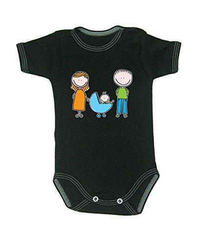 Couleur Mode Dessin Happy Family Unisexe bodies à manches courtes 100% coton Petit bébé – 24 mois – 0017 noir 0-3 months, 62 cm