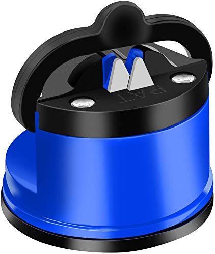 DDMA Afilador De Cuchillos, Lo último En Afilador De Cuchillos con Tecnología De Succión Segura, Afila Y Restaura Cuchillos De Cocina Rectos Y Dentados (Blue)