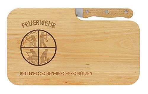 Brotzeitbrett Jausenbrett Holz Erle Messer Feuerwehr retten Bergen löschen schützen Geschenk Männer Schneidbrett Holz Geschenkidee für Ihn