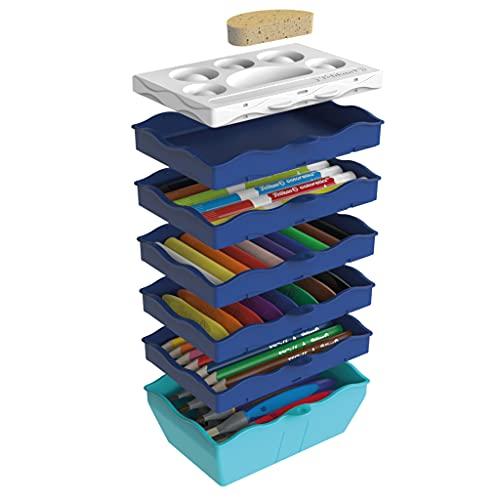 Pelikan 818384 Kreativfabrik Supertower, befüllt mit 54 Teilen (z.B. Bunt-, Filz- und Wachsmalstifte, Knete, Pinsel, Tempera-Farben, etc.) , 1 Stück