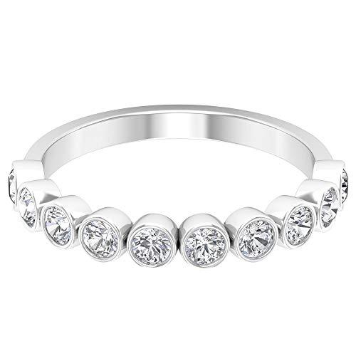 Alianza de boda con diamante certificado SGL de 0,65 ct, clásico anillo de media eternidad, declaración para mujer, anillo de aniversario, 14K Oro blanco, Size:EU 48