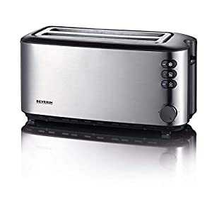 Severin 2509 Automatic 4-Slice Long Slot Toaster, 1400 W, Stainless Steel-Black Chambers Power, Silver