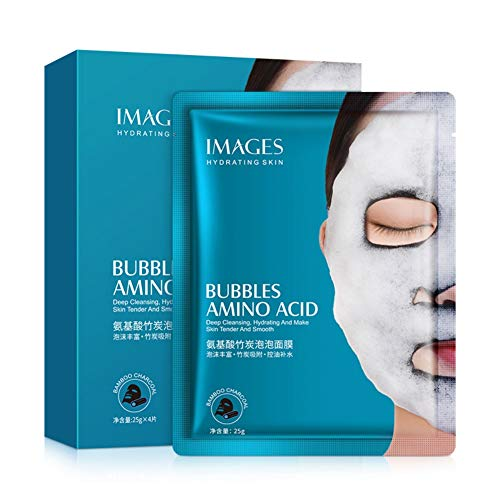Detox Oxygen Bubble Sheet Mask Moisturizing Black Facial Whitening Face Care Bamboo Charcoal Breath Oxygen Bubble Cleansing Mask Hydrating,Best for Pore Clogging,Oil Skin,Blackheads,Dead Skin