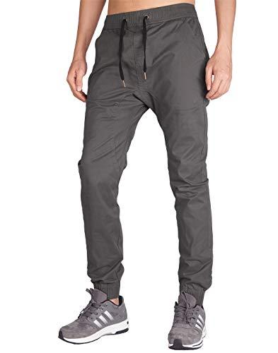 Italy Morn Mens Casual Harem Skinny Jogging Cargo Sport Chino Slim Fit Trousers Dark Grey L