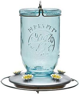 Perky-Pet 785 Mason Jar Hummingbird Feeder, Blue Mason Jar