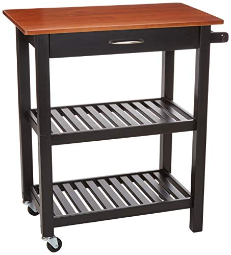 AmazonBasics  Multifunction Island/Kitchen Cart with Open Shelves - Cherry and Black