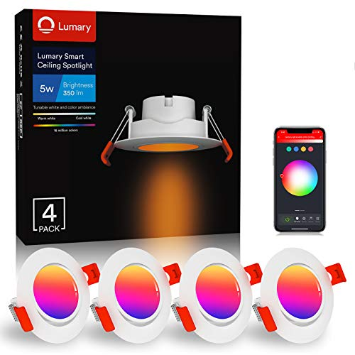 Lumary Foco Empotrable LED Downlight - 5W WiFi Inteligente Downlight LED Techo Color Ajustable 2700K-6500K Blanco Cálido/Frío RGBWW Rotable Ojos de Buey de LED,Compatible con Alexa/Google Home (4PCS)