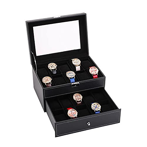 Caja de joyería de diseño de doble capa con organizador de relojes, vitrina de joyería de cuero de PU con cerradura de llave Caja de reloj para hombre con tapa de vidrio Regalos para hombres y mujeres