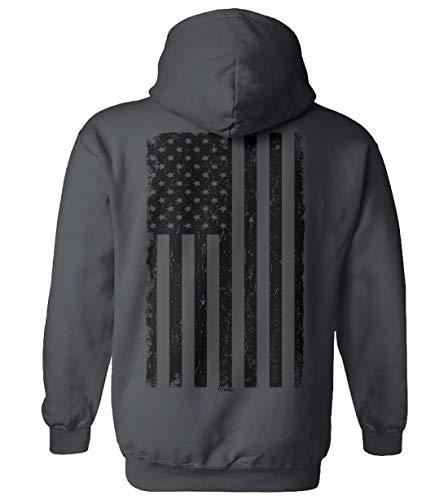 Distressed Black USA Flag - United States Unisex Hoodie Sweatshirt (Charcoal - Back Print, Large)