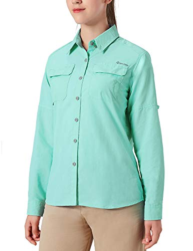 NAVISKIN Damen Bluse UPF 50+ Sonnenschutz Langarmbluse Outdoor Ultraleicht Wanderhemd schnelltrocknend Langarmshirt Hellgrün Größe M