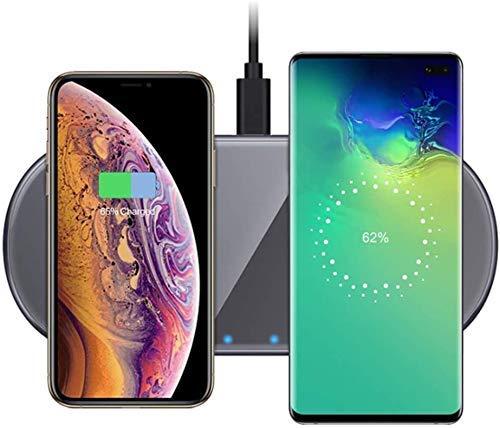Cargador Inalámbrico Dual De 15 W Almohadilla De Carga Inalámbrica Rápida Qi para iPhone 11/11 Pro / 11 Pro MAX/XS/XS MAX/XR/X / 8 Plus / 8 / Samsung Galaxy S10 / S9 / LG V50 / V40 / V30