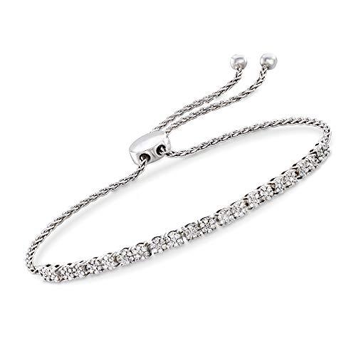 Ross-Simons 0.50 ct. t.w. Diamond Cluster Bolo Bracelet in Sterling Silver