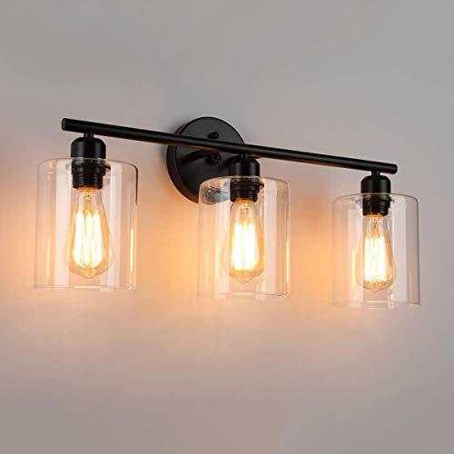 CattleBie Luz espejo con pantalla de cristal 3-luces del baño del accesorio, iluminación de la decoración lámpara de pared de la vendimia Negro Industrial de espejo Armarios Tocador dormitorio, titula