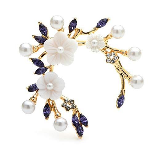 Broches de flores con diamantes de imitación para mujer, color rosa, morado, corona de boda, oficina