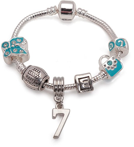 Bling Rocks Liberty Charms Childrens Blue Happy 7th Birthday Personalised with Initial Silver Plated Charm Bead Bracelet. with Gift Box & Velvet Pouch. Girls Kids Gift (Other