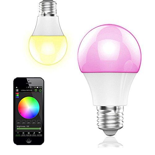 BOHMAIN E27 Lámpara Led de luz ambiental de Ahorro de energía RGB, control desde la aplicación compatible con Android y iOS, Multicolor