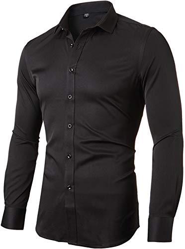 INFLATION Herren Hemd aus Bambusfaser umweltfreudlich Elastisch Slim Fit für Freizeit Business Hochzeit Reine Farbe Hemd Langarm,DE XL (Etikette 43),Schwarz