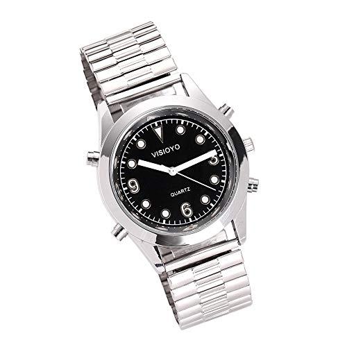 Reloj Parlante en Español, Reloj de Pulsera,Esfera Negro (Expandible de Pulsera TSSB-2301S)