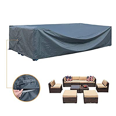 """Patio Furniture Set Cover Outdoor Sectional Sofa Set Covers Outdoor Table and Chair Set Covers Water Resistant Heavy Duty 128"""" L x 83"""" W x 28"""" H"""