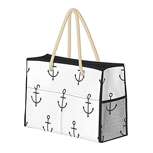 Bolsa de playa grande y bolsa de viaje para mujer – Bolsa de piscina con asas, bolsa de semana y bolsa de noche – Anclajes sin costuras patrón náutico