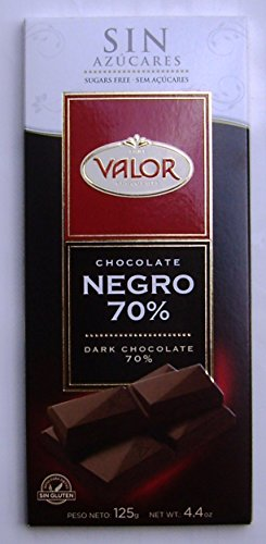 VALOR Chocolate / DUNKLE Schokolade (Zuckerfrei und Glutenfrei) Dark Chocolate 70% - 125gr x 6 bars