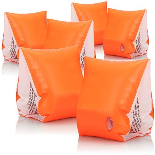 com-four® 3X Alas de natación para niños - Ayuda a la flotabilidad Inflable - Neumáticos de natación de Brazo en Naranja para bebés - 18 a 30 kg (03 Piezas - Naranja)