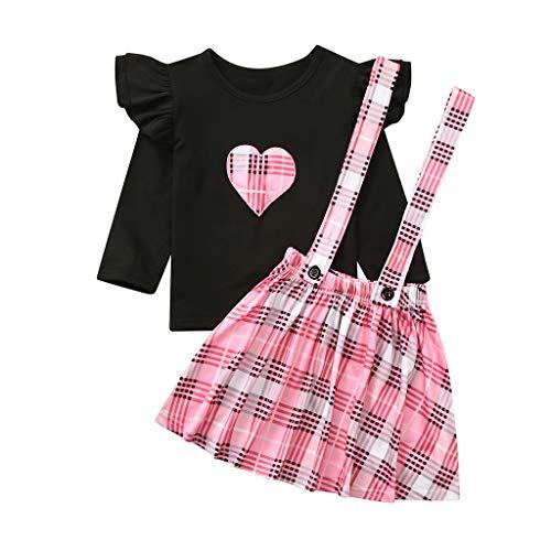 TWISFER Baby Gerüschtes Gestreiftes Kariertes Liebes T-Shirt Tops + Trägerrock Set Mädchen Warm Prinzessin Langarm Kleider Niedlich Kleidung