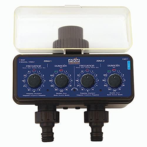 Aqua Control C4011 - Programador de Riego para Jardín - Para todo tipo de Grifos - Con 2 salidas...