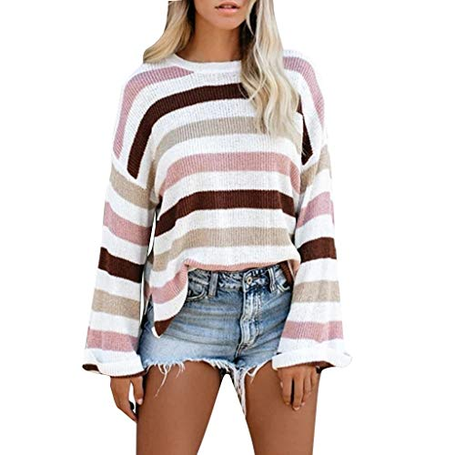 Buy Discount Hurrybuy Women's Long Sleeve Rainbow Striped Color Block Knitted Casual Loose Oversized...