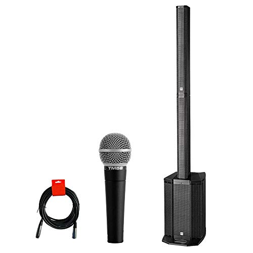 HK AUDIO Polar 10 4-Channel Powered 2000-Watt Column Bluetooth PA System with Superlux TM58 Vocal Mic & XLR Cable Bundle