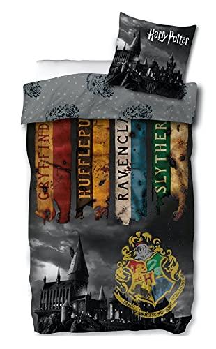 Harry Potter - Juego de cama (funda nórdica de 140 x 200 cm y funda de almohada de 63 x 63 cm)